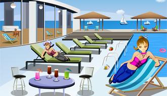 Beach front pool decor